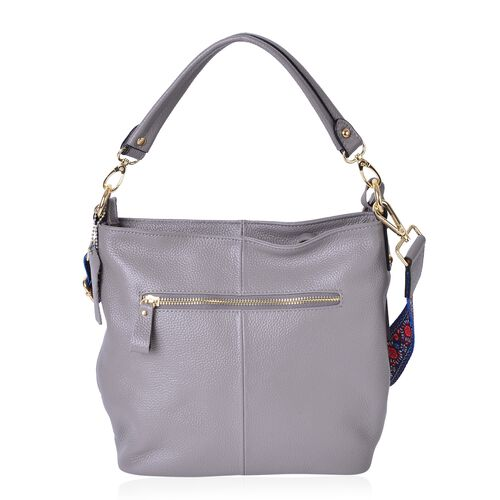 Premium Collection- Top Grain 100% Genuine Leather Grey Colour Crossbody Bag with Colourful Removable Shoulder Strap (Size 26X24X11 Cm)