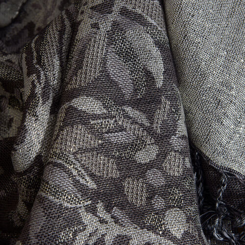 Silver and Grey Floral Viscos Lurex Scarf (Size 180x100 Cm)