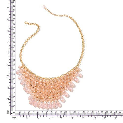 Simulated Pink Sapphire BIB Necklace (Size 20 with 3 inch Extender) in Yellow Gold Tone