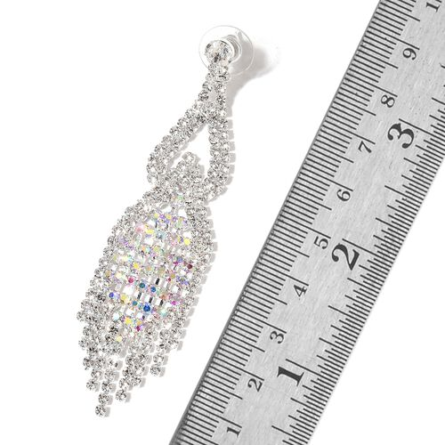 AAA Magic Colour Austrian Crystal and White Austrian Crystal Chandelier Earrings (with Push Back) in Silver Tone