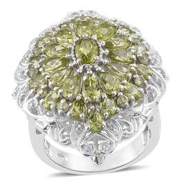 Hebei Peridot (Ovl 0.50 Ct), Natural Cambodian Zircon Ring in Platinum Overlay Sterling Silver 6.500 Ct. Silver wt 10.50 Gms.