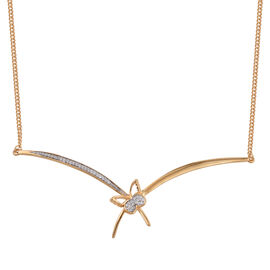 Kimberley Butterfly Collection - Natural Cambodian Zircon (Rnd) Butterfly Necklace (Size 18) in 14K Gold Overlay Sterling Silver, Silver wt 6.63 Gms.