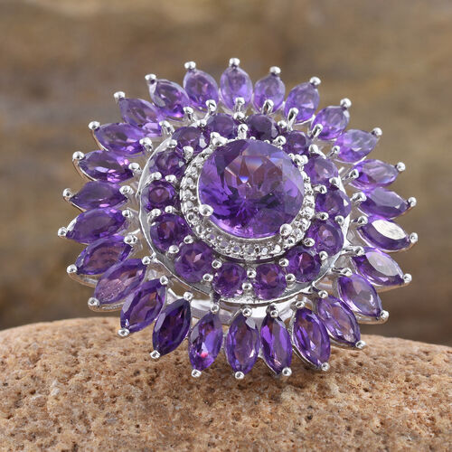 Amethyst (Rnd 3.25 Ct) Floral Ring in Platinum Overlay Sterling Silver 11.500 Ct.