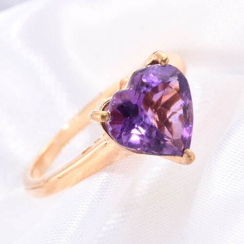 Amethyst 3 Ct Silver Heart Solitaire Ring in Gold Overlay