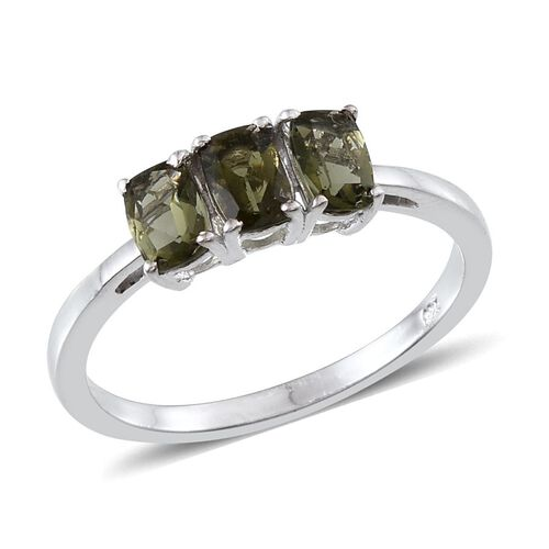 Bohemian Moldavite (Cush) Trilogy Ring in Platinum Overlay Sterling Silver 1.150 Ct.
