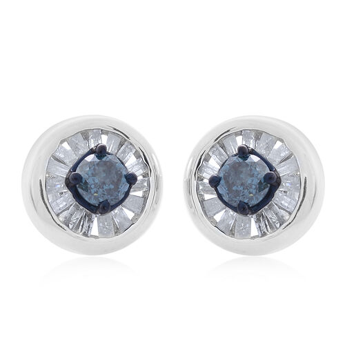Blue Diamond (Rnd), White Diamond Stud Earrings (with Push Back) in Platinum Overlay Sterling Silver 1.000 Ct.