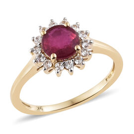 9K Yellow Gold 1.65 Ct AAA African Ruby Halo Ring with Natural Cambodian Zircon