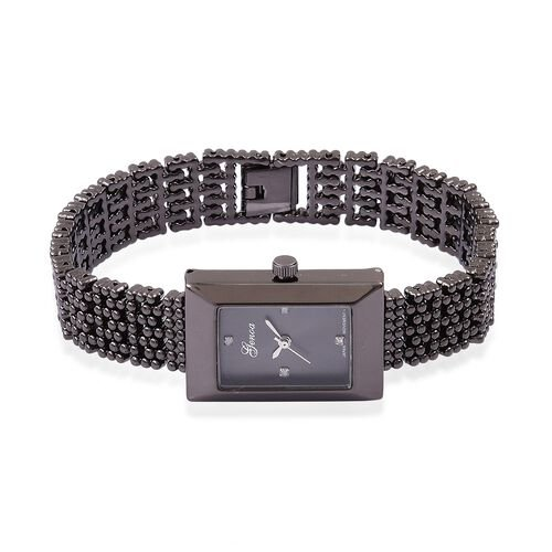 Designer Inspired- Diamond Studded GENOA Japanese Movement Bracelet Watch in Black Tone