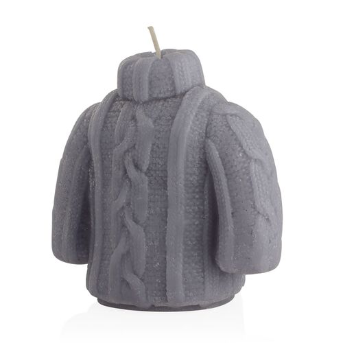Home Decor - Grey Colour Decorative Cable Knit Sweater and Glove Shape Candles (Size 10x7 and 11x7 Cm) in Gift Box