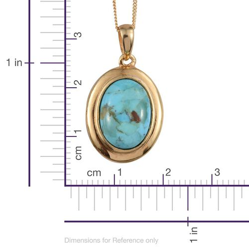 Arizona Matrix Turquoise (Ovl) Solitaire Pendant With Chain in 14K Gold Overlay Sterling Silver 4.250 Ct.