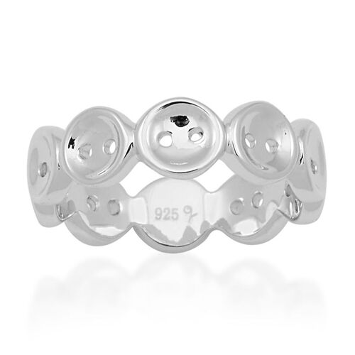 LucyQ Button Ring in Rhodium Plated Sterling Silver