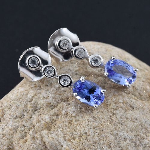 9K White Gold AA Tanzanite (Ovl), Natural Cambodian Zircon Earrings (with Push Back) 0.990 Ct.