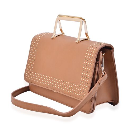 Amor Gold Metal Handle Bag in Tan Colour (Size 24x15x10 Cm)