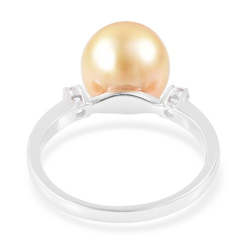 ILIANA 18K White Gold AAA South Sea Golden Pearl (Rnd 10.5-11mm), Diamond (SI/G-H) Ring