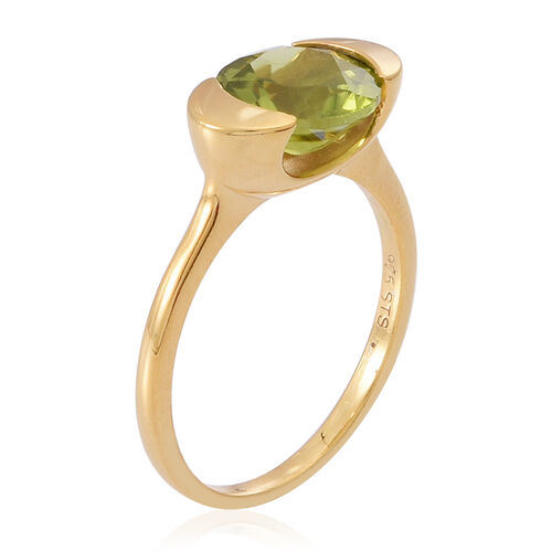 AA Hebei Peridot (Rnd) Solitaire Ring in 14K Gold Overlay Sterling Silver 3.000 Ct.