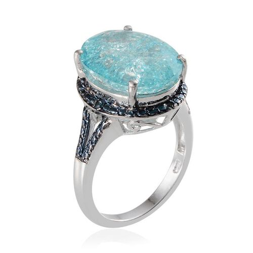 Blue Crackled Quartz (Ovl 10.25 Ct), Blue Diamond Ring in Platinum Overlay Sterling Silver 10.270 Ct.
