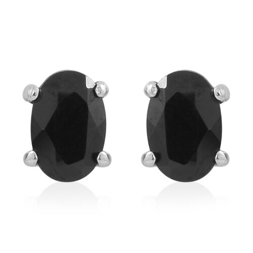 Set of 4 - Boi Ploi Black Spinel (Oct, Sqr, Ovl and Rnd) Stud Earrings (with Push Back) in Rhodium Plated Sterling Silver
