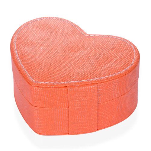 Orange Heart Shape Jewellery Box with Mirror Inside (Size 12.5x10x5 Cm)