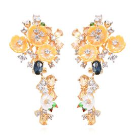 Jardin Collection - Yellow and White Mother of Pearl, London Blue Topaz and Multi Gemstone Enameled Earrings (with French Clip) in Yellow Gold Overlay Sterling Silver