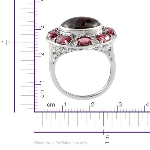 Natural Russian Eudialyte (Rnd 6.75 Ct), Rhodolite Garnet and White Topaz Ring in Platinum Overlay Sterling Silver 11.250 Ct.
