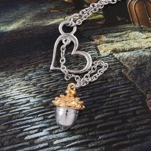 Acorn Nut and Heart Necklace in Platinum and Yellow Gold Overlay (Size 18), Silver wt 4.50 Gms.