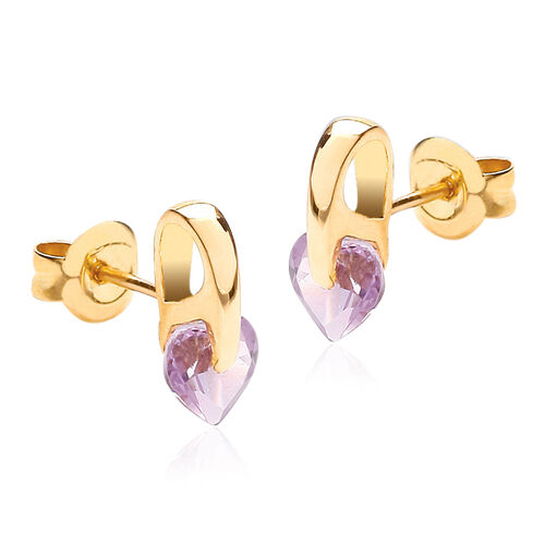 JCK Vegas Collection - 9K Y Gold Amethyst (Hrt) Stud Earrings (with Push Back)