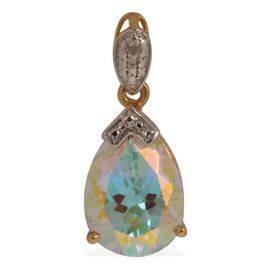 Mercury Mystic Topaz (Pear 9.25 Ct), Diamond Pendant in 14K Gold Overlay Sterling Silver 9.260 Ct.