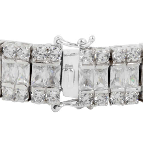 ELANZA AAA Simulated White Diamond (Oct) Bracelet (Size 7.5) in Rhodium Plated Sterling Silver.Silver Wt 34.50 Gms Number of Simulated Diamonds 180