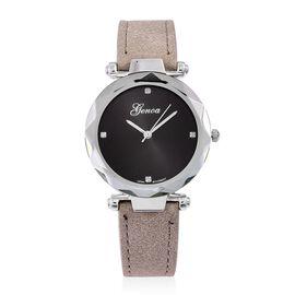 GENOA Diamond Studded Black Sunshine Dial Watch with Grey Colour Strap