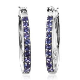 Tanzanite (Rnd) Hoop Earrings (with Clasp Lock) in Platinum Overlay Sterling Silver 2.500 Ct.
