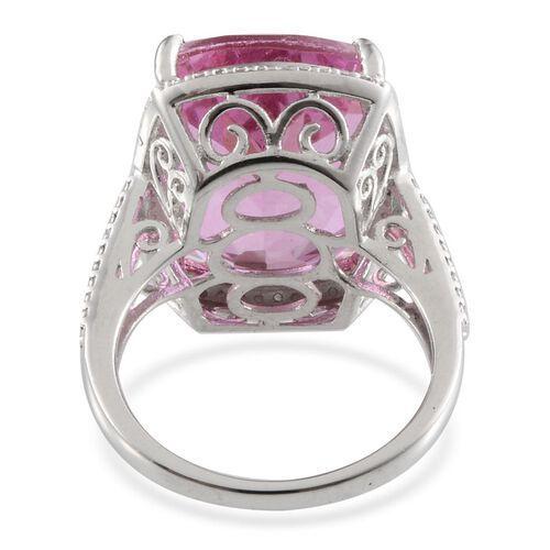 Kunzite Colour Quartz (Cush 20.75 Ct), Diamond Ring in Platinum Overlay Sterling Silver 20.820 Ct.