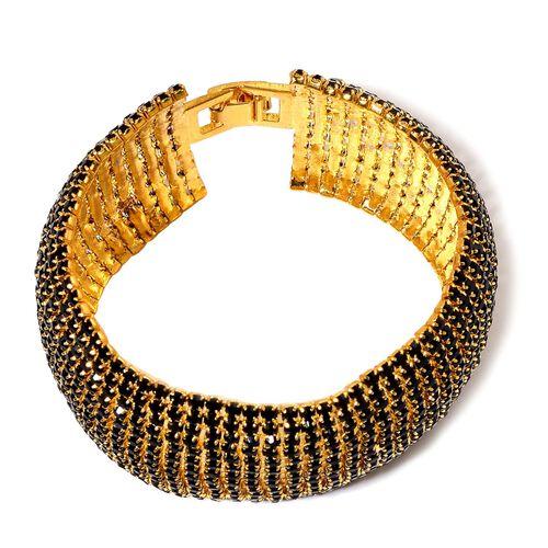 AAA Black Austrian Crystal Bracelet (Size 8) in Gold Tone