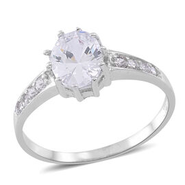 ELANZA AAA Simulated White Diamond (Ovl) Ring in Rhodium Plated Sterling Silver, Silver wt 3.00 Gms.
