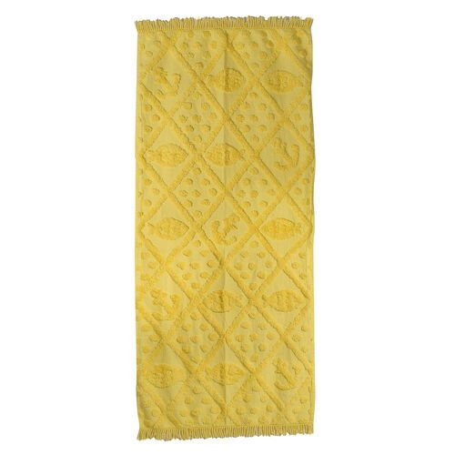 100% Cotton Tufted Fish and Anchor Yellow Outdoor Blanket with Fringes on Both Ends (Size 175x80 Cm)