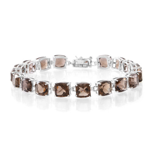 Brazilian Smoky Quartz (Cush) Bracelet (Size 7.5) in Rhodium Plated Sterling Silver 18.000 Ct.