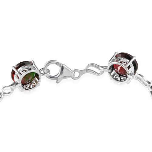 Tourmaline Colour Quartz (Rnd) Bracelet in Platinum Overlay Sterling Silver (Size 7) 22.000 Ct.