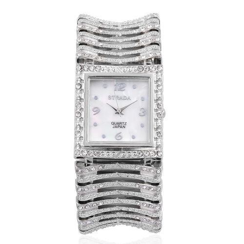 STRADA Japanese Movement White Austrian Crystal Studded Simulated MOP Dial Water Resistant Bracelet Watch in Silver Tone with Stainless Steel Back