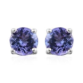Tanzanite 1 Carat Silver Stud Earrings in Platinum Overlay (with Push Back)