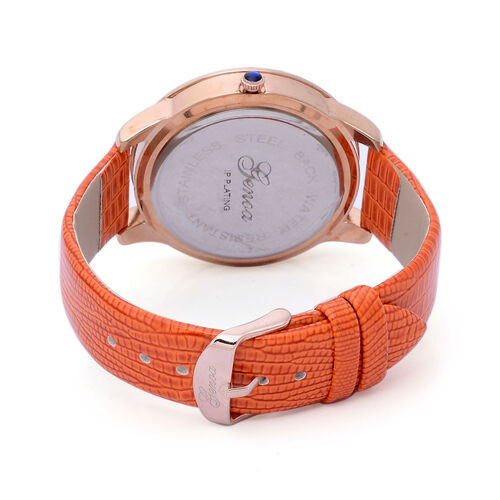 GENOA Japanese Movement Butterfly Enameled Dial White Austrian Crystal Water Resistant Watch in Rose Gold Tone with Croc Embossed Orange Colour Strap