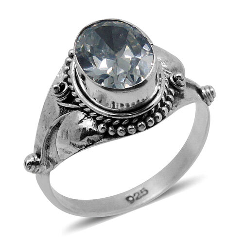 Royal Bali Collection AAA Simulated White Diamond (Ovl) Solitaire Ring in Sterling Silver 2.650 Ct.