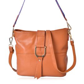 Genuine Leather Tan Colour Crossbody Bag with Colourful Adjustable and Removable Shoulder Strap (Size 29X26X23X13 Cm)