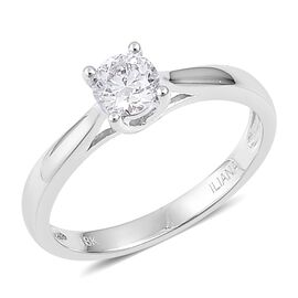 ILIANA 0.50 carat Brilliant Cut Diamond Solitaire Ring in 18K White Gold