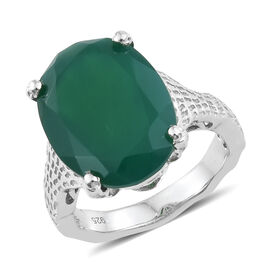 Verde Onyx (Ovl) Ring in Platinum Overlay Sterling Silver 7.000 Ct. Silver wt 4.52 Gms.