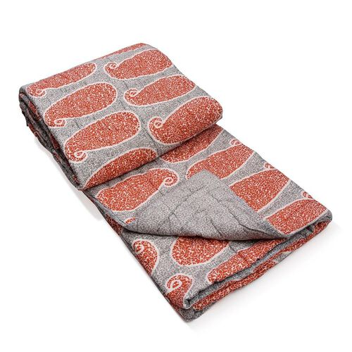 (Option 1) 100% Cotton Paisley Pattern Orange and Grey Printed Reversible Quilt (Size 260x240 Cm)