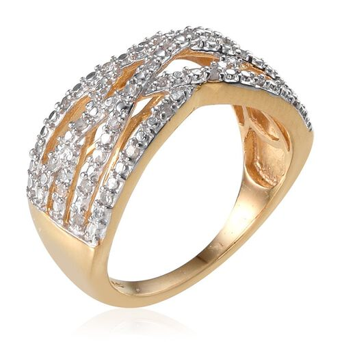 Diamond (Rnd) Criss Cross Ring in 14K Gold Overlay Sterling Silver 0.200 Ct.