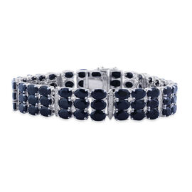 Black Sapphire (Ovl), White Topaz Bracelet in Platinum Overlay Sterling Silver (Size 7) 43.100 Ct.