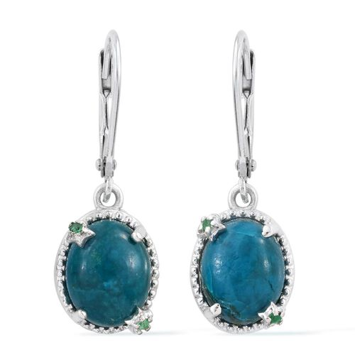 Natural Rare Opalina (Ovl), Kagem Zambian Emerald Lever Back Earrings in Platinum Overlay Sterling Silver 4.330 Ct.