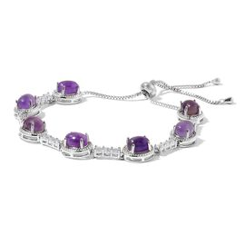 Amethyst and Simulated Diamond Adjustable Bracelet (Size 6.5 to 10) in Silver Plated 25.300 Ct.