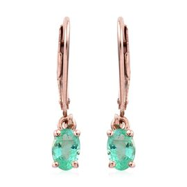 Zambian Emerald 1 Carat Silver Lever Back Earrings in Rose Gold Overlay