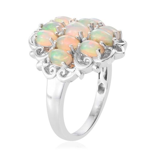 Ethiopian Welo Opal (Ovl) Ring in Platinum Overlay Sterling Silver 1.880 Ct.